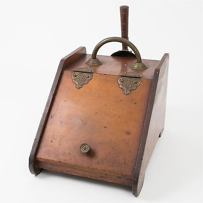 Antique Fireside Coal & Kindling Box Wood Brass Scuttle Hod w/ Scoop Rustic Bin