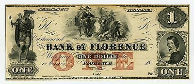 1800's $1 The Bank of Florence, NEBRASKA Note CU
