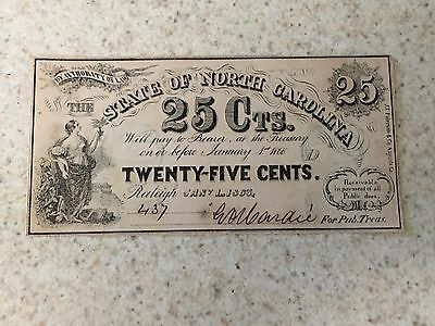 1863 State of North Carolina 25 Cent Obsolete Currency Bank Note Very Crisp Unc!