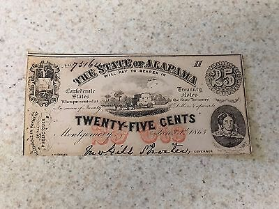 1863 State of Alabama 25 Cent Obsolete Bank Note Crisp Unc~Great History, Here!