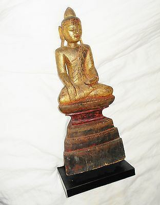 LARGE 18th / 19thC CHINESE TIBETAN CARVED WOOD BUDDHA Gold Gilt 22""