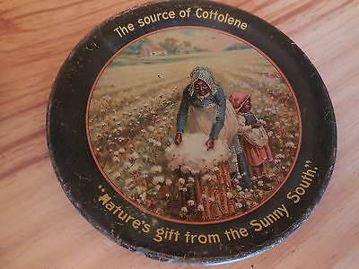 """Cottolene """"Nature's gift from the Sunny South"""" tin tip tray; Black Americana"""