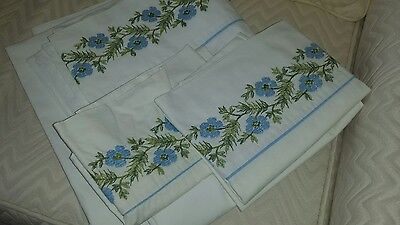 ANTIQUE/VINTAGE LINEN EMBROIDERED BED SHEET DOUBLE w/PILLOW CASES