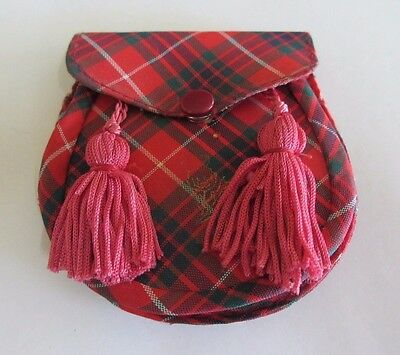 Vintage Scottish Tartan Coin Purse with Red Tassles - Made by Athole in Scotland
