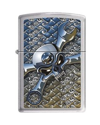 Zippo 5086, Socket Spanner-Skull, Brushed Chrome Finish Lighter, Full Size