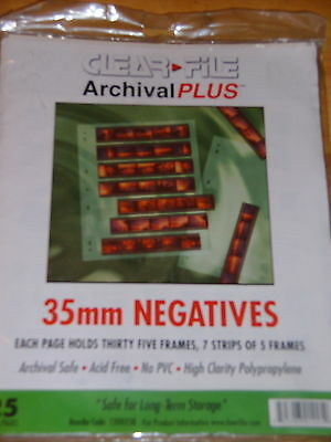 Clear File Archival Plus 35mm Negatives ~ 25 Refill Pages 35 Frames Per Page New