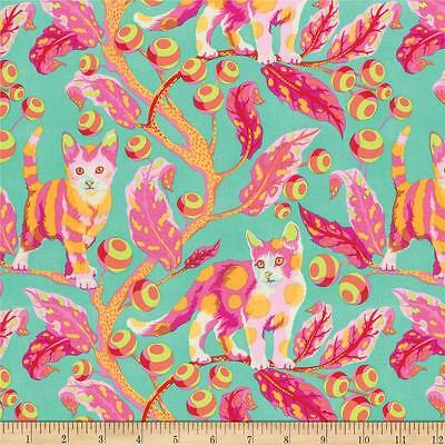 Tula Pink Fat Quarter 100% cotton fabric Tabby Road Disco Cat,Mint,Orange,Pink