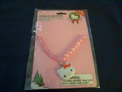 Hello Kitty Beaded Ribbon Necklace with Charm Very Cute Brand New Great Gift