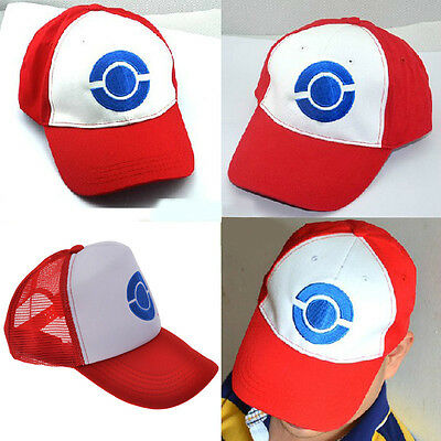 9bde73a9ddf Cosplay Pokemon Hat Ash Ketchum Visor Cap Costume Anime Red Baseball Hat 1
