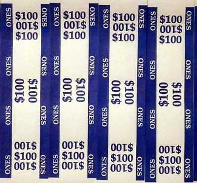 25 - Blue $1 Self-Sealing Currency Bands - $100 Cash - Money Straps For Ones