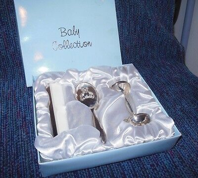 Baby Collection 3 Piece Set Silver Rattle Brush Comb Stainless Steel Finish New