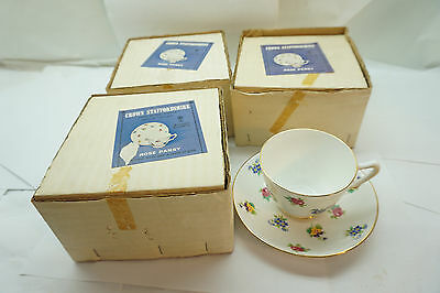 Crown Staffordshire Cup Saucer Rose Pansy Pattern Set 3 New In Box Bone China