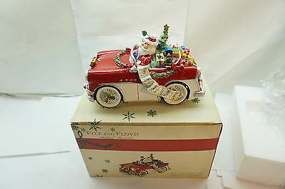 Fitz And Floyd Christmas Figurine Musical Merry Bright Santa In Car New In Box