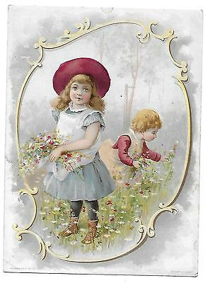 Woolson Spice Victorian Trade Card Lion Coffee 2 Girls Picking Flowers