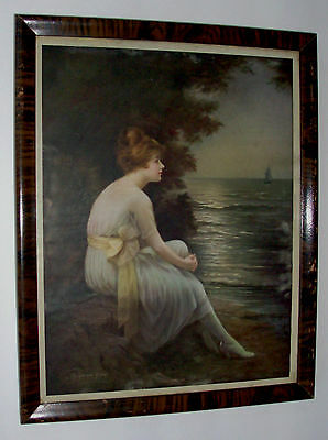 Antique Vintage 1920's Framed Print Of Woman Beside Sea By Adelaide Hiebel