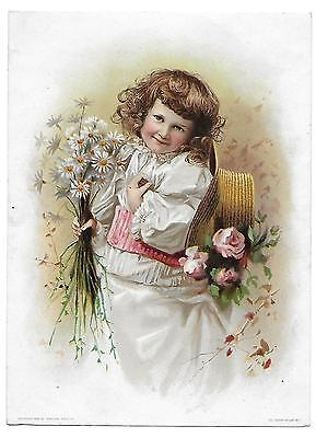 Large Lion Coffee Victorian Trade Card Girl W/  Roses + Daisies
