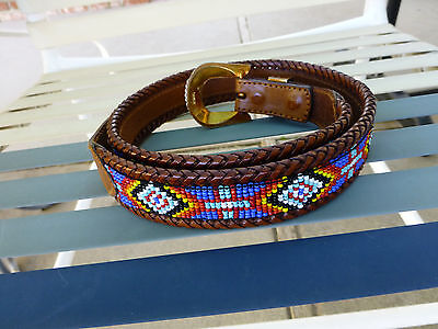 Vintage Native American Design Beaded And Leather Belt Size 32.