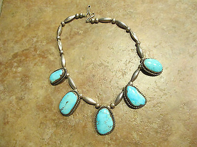 Exquisite Vintage NAVAJO Sterling Silver PREMIUM Turquoise Melon Bead Necklace
