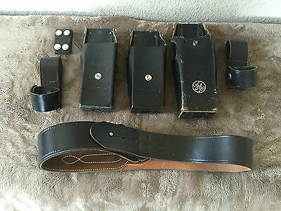 Vintage Military Police Leather Duty Belt Gear Lot Of 7 Belt And Radio Holders