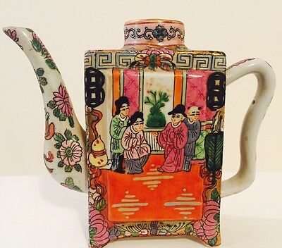 Famille Rose Tea Pot Square Colorful China Porcelain Ceramic Footed Antique