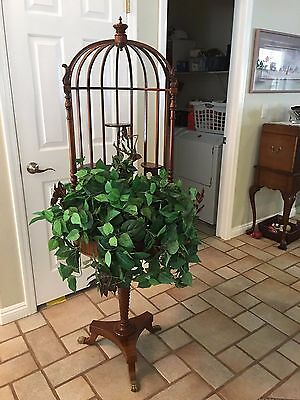 Antique beautiful mahogony 'birdcage' style floor planter late 1800-early1900s
