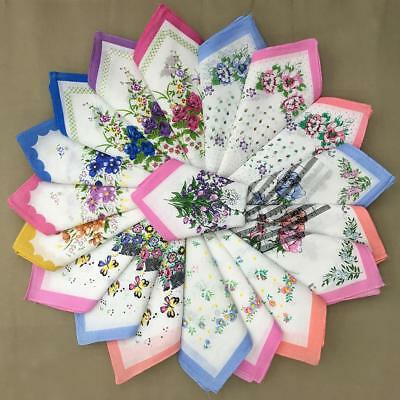 Vintage Estate Lot Ladies Handkerchiefs HANKIES-Florals Prints 12 Pieces