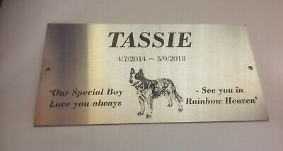 PET DOG MEMORIAL CUSTOM LASER ENGRAVED STAINLESS STEEL mounting holes 200X100M