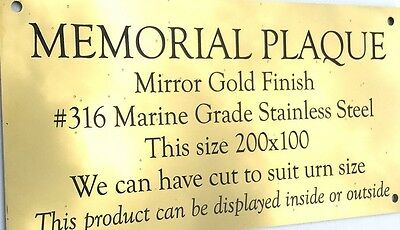 Gold Mirror Finish Stainless Steel Plaque Memorial, 4 mounting holes 200X100mm
