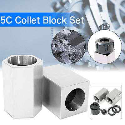 Set of 5C Collet Block Chuck Square Hex & Clamp Holder For Lathes/Mills/Grinders