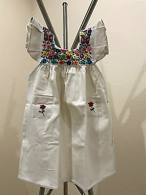oaxacan kids dress, authentic Mexican clothing, handmade hand embroidered,