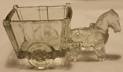 Vintage, Figural, Clear Glass, Donkey & Cart, Candy Container