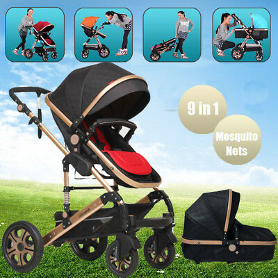 9 in1 Baby Toddler Reversible Pram Stroller Jogger & Bassinet Foldable Pushchair