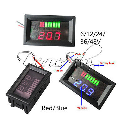 Charge Level Red/Blue Indicator Voltmeter for 6/12/24/36/48V Lead-acid Battery