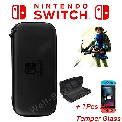 For Nintendo Switch Hard Shell Carrying Display Case EVA Plain Bag Cover + Film