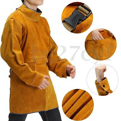 Durable Leather Welding Welders Long Coat Apron Protective Clothing Apparel Suit