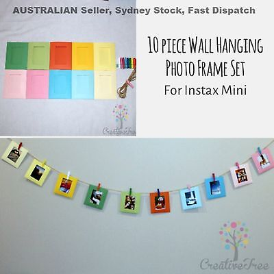 10 piece clip wall hanging frame for INSTAX MINI photos with pegs and twine AUS