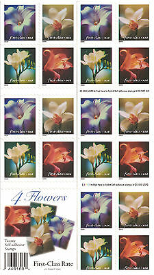 Scott #3457e 4 FLOWERS FIRST CLASS (34) CENT COMPLETE BOOKLET PL #S1111