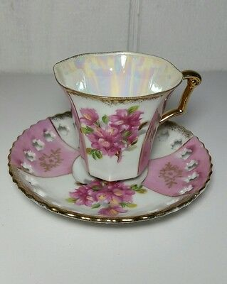 VINTAGE Small Luster FOOTED TEA CUP AND SAUCER WITH CUTOUTS  JAPAN