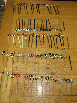 Vintage Set of  83 X  Lace Making Bobbins - 80 With Spangles - USED