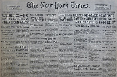 4-1930 April 18 PROHIBITION BEER CONSPIRACY. WETS SEEK FUND FOR CAMPAIGN.