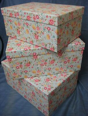 Set Of 3 Large Duck Egg Blue Ditsy Floral Gift / Storage Boxes