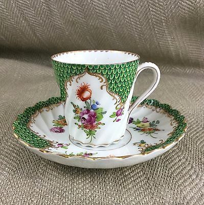 Antique Dresden Porcelain Cup & Saucer Scalloped Green Hand Painted 263
