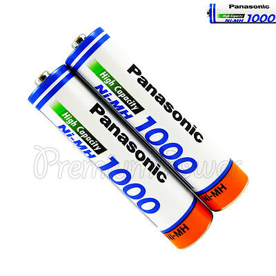 2 x Panasonic AAA batteries Ni-MH 1000 930mAh Rechargeable High capacity HR03