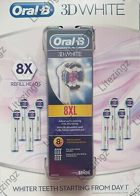Braun Oral B Electric Toothbrush Replacement 3D White Brush Heads - 100% Genuine