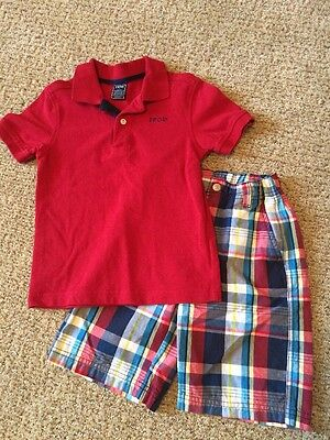 Boys IZOD RED Plaid Short Sleeve polo Shirt Outfit size 7 Blue White Easter