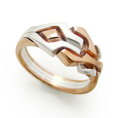 (RED MAZE) Unique Puzzle Rings - Silver/Bronze - Any Size