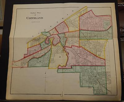 Ohio, Cuyahoga County Map City of Cleveland Outline Map  1874 K11#31