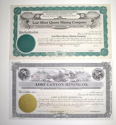 Nevada ~ LOST CANYON / LOST SILVER QUEEN ~ mining stock certificates