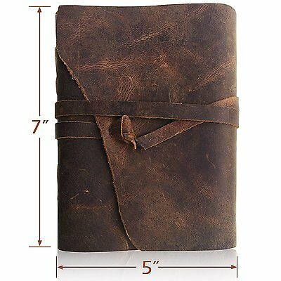 Moonster Leather Journal Writing Notebook, Antique Handmade Leather Bound Daily