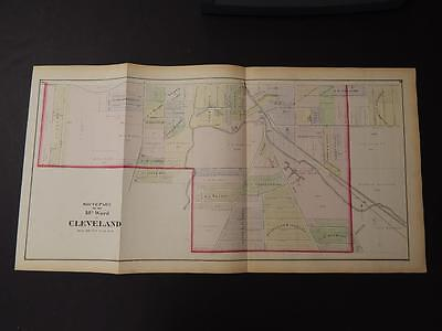 Ohio, Cuyahoga County Map City of Cleveland 18th Ward South 1874 Dbl Pg K11#39